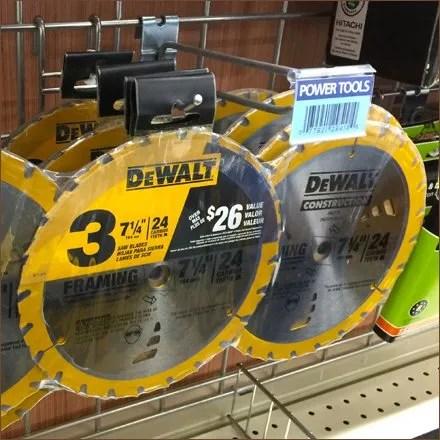 Triple Pack Circular Saw Blade Grid Hung by DeWalt Feature