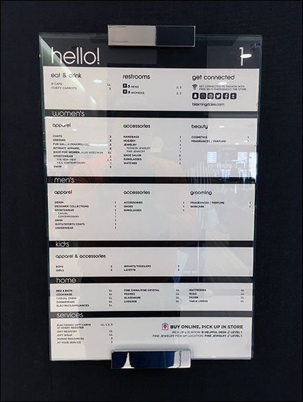 Bloomingdale's Hello Store Directory By Department