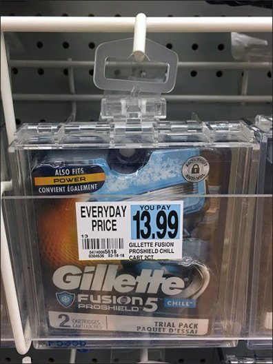Gillette Hook-Hung Safer Box Merchandising