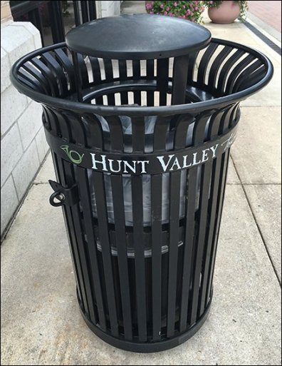 Hunt Valley Towne Center Branded Trash Bin