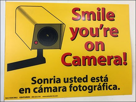 Smile You're On Camera in English and Spanish