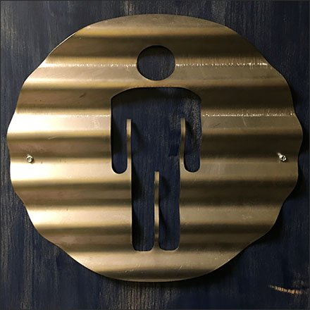 Corrugated Metal Restroom Signs At Viva Farms