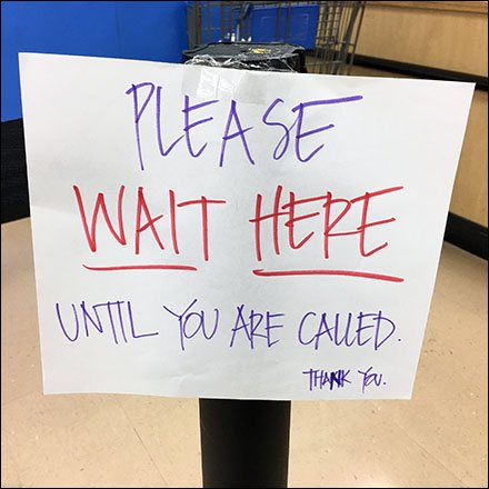 Wait Until Called Service Counter Instructions