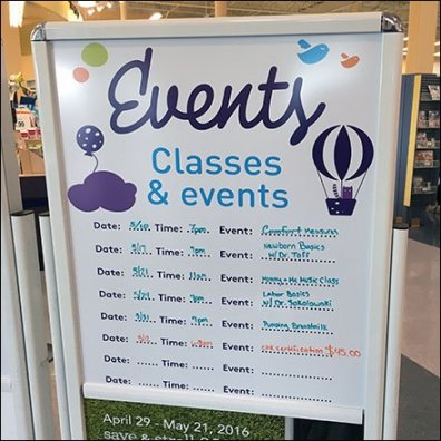 Events and Classes Whiteboard Entry Calendar