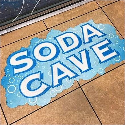 Walk-In Soda Cave Floor Graphic Sign
