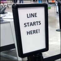 Service Counter Waiting Line Starts Here