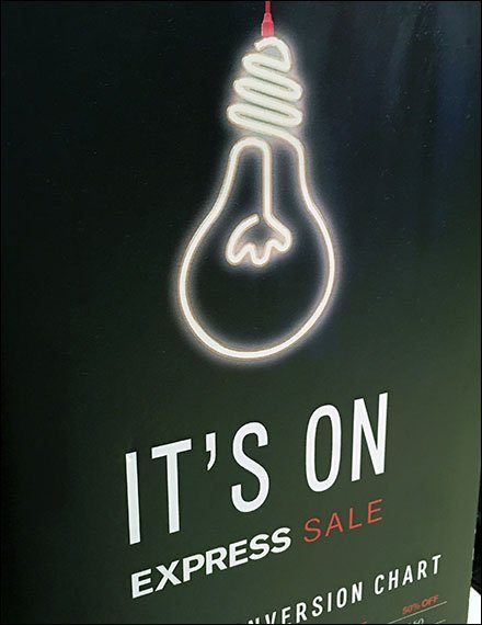 Lightbulb Says Sale Is On At Express