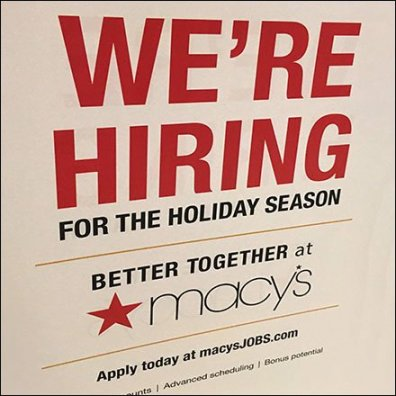 Macy's We're Hiring For The Holiday Season