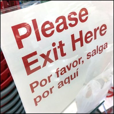 Please Exit Here Bilingual Queue Management