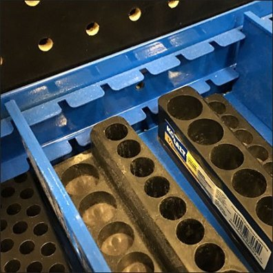 Divided Bulk Bin Shelf-Top Tool Display