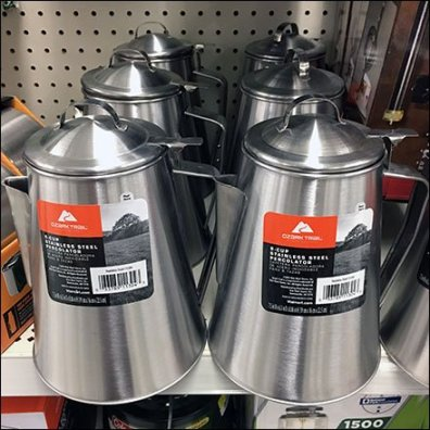 Stainless Steel Coffee Pot Merchandising