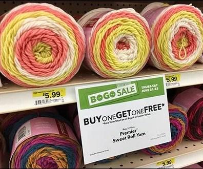Sweet Roll Yarn Endcap Merchandising