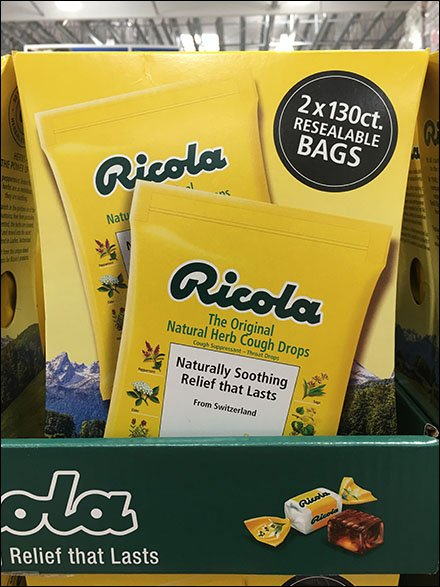 Mountain of Ricola Cough Drop Merchandising