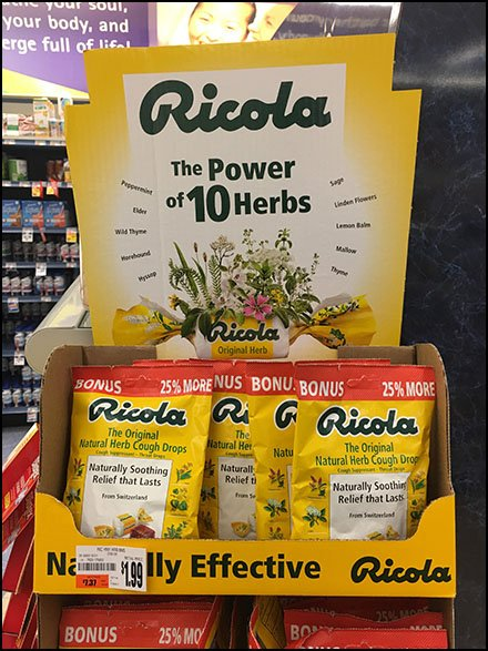 Ricola Merchandising And Ricola Store Fixtures - Ricola Corrugated Floorstand Display Point-of-Purchase