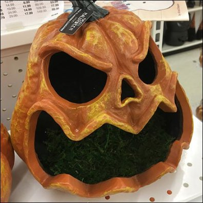 Frightful Pre-Carved Ceramic Jack-O-Lantern