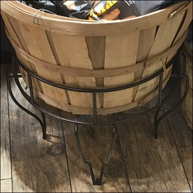 Bushel Basket Ornate Open Wire Floor Stand