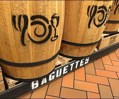 Bank of Baguette Wooden Barrel Merchandising