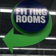 Fitting Room Directional Sign Ceiling Hung