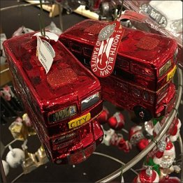 Mouth-Blown City Bus Christmas Ornament