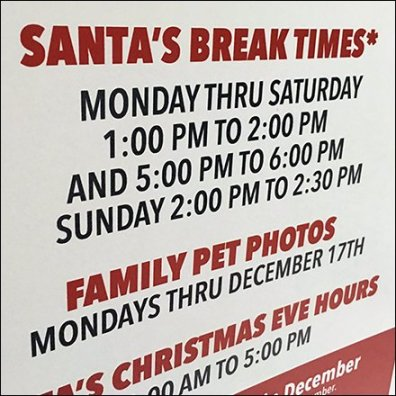 Santa Break Time Scheduled In Advance Feature