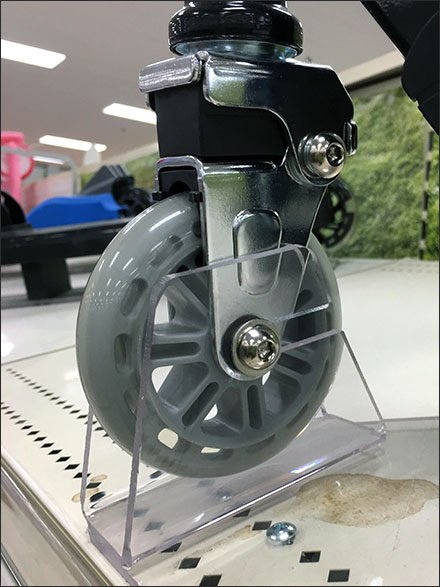 Scooter Wheel Chocks For Shelf Top Display