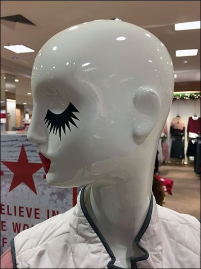 Shaved-Head Mannequin Mascara Makeup