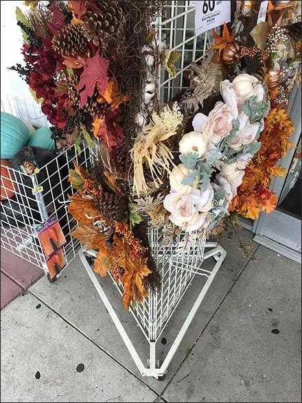 Triangular Gridwall Fall Wreath Display