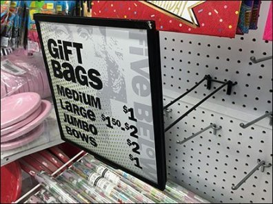 Twin-Arm Pegboard Sign Holder For Gift Bags