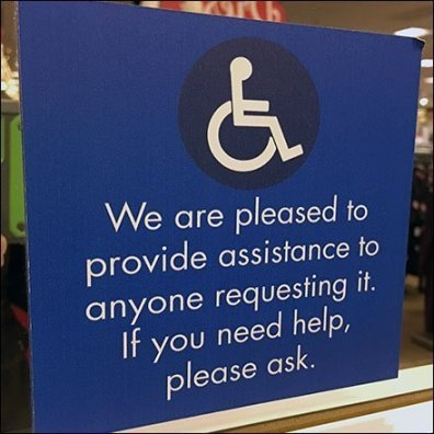 Handicapped Help and Assistance Upon Request