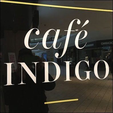 Cafe Indigo Bookstore Entry Sign Invitation