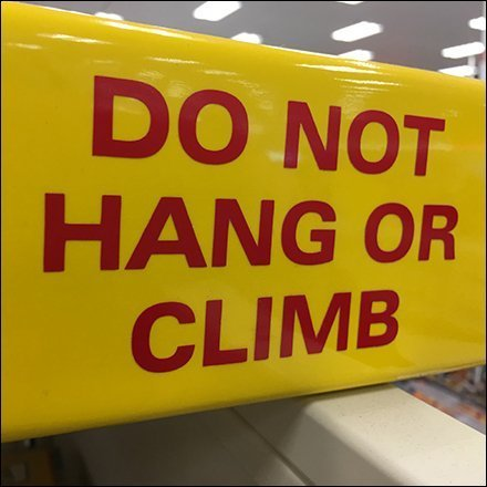 Do Not Hang or Climb On Legos Warning