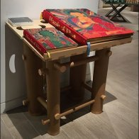 Freestanding Wood Bookstand Table Murals of Tibet