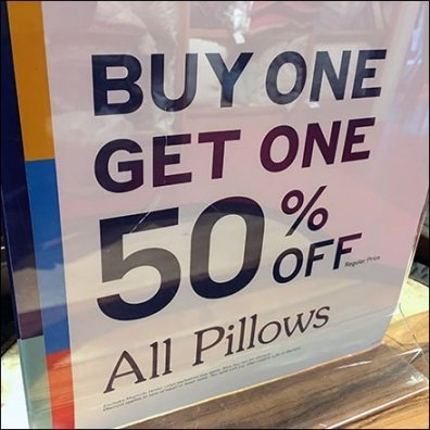 Pier 1 Pillow Buy One Get One Table-Top Sign BOGO Feature