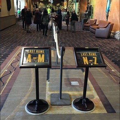 Alphabetic Queue Management Signage