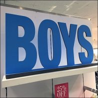 Boys Apparel Department Silhouetted Sign Feature