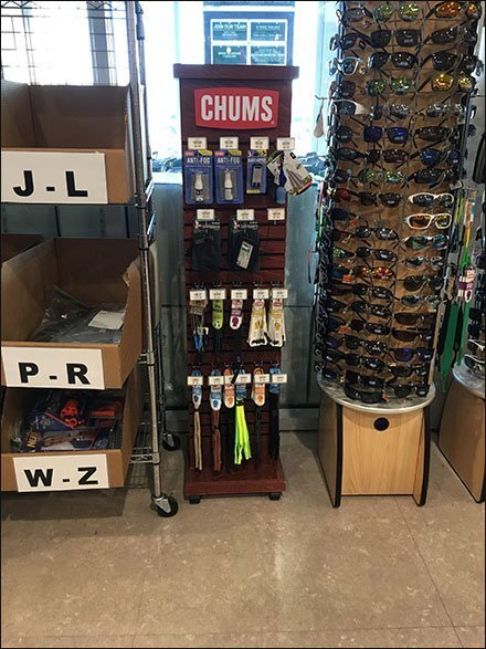 Chums Eyewear Accessories Wood Slatwall Tower