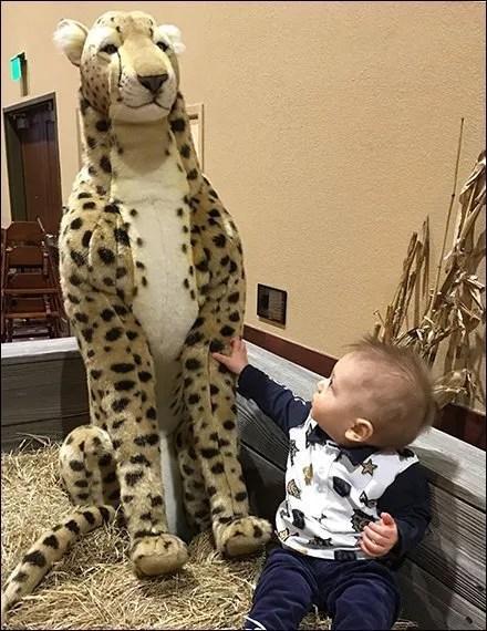 Playful Plush Leopard Hospitality Retail Babysitter