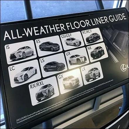 Lexus All Weather Floor Liner Guide Feature
