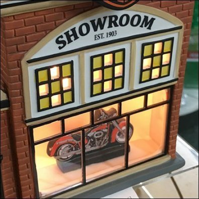 American Candle Shoppes Harley Davidson Miniature Village Dealer Showroom Feature