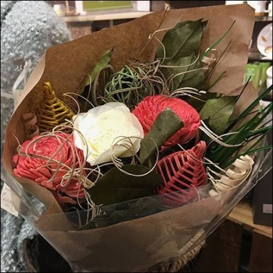 Faux Floral Bouquet Wire Basket Presentation