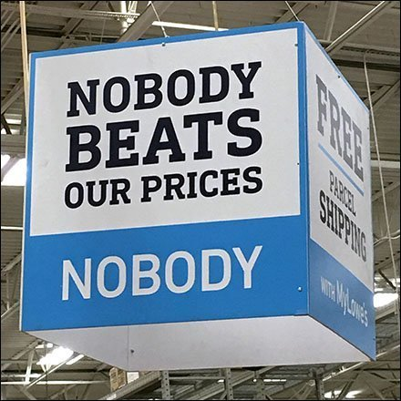 Nobody Beats Our Prices Ceiling Sign Cube
