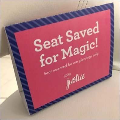 Ear Piercing Magic Seat Placeholder Tent Sign