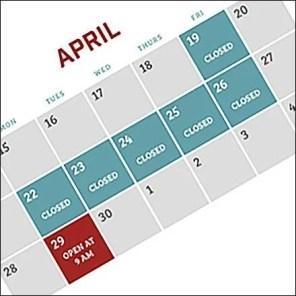 Passover Showroom Schedule Calendar