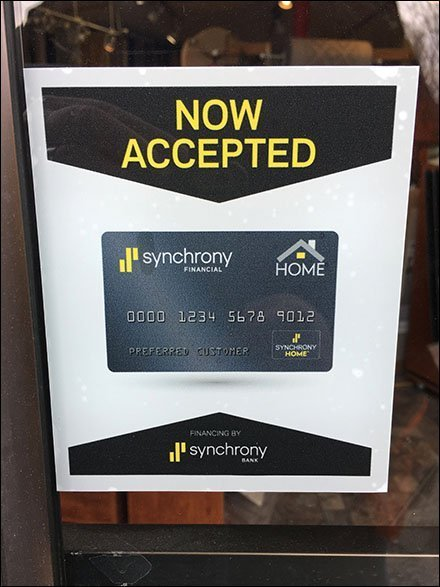 Now Welcoming Synchrony Credit Cards Decal