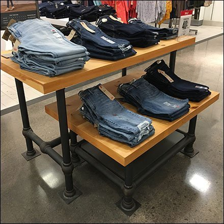 Pipefitter Trestle Table Apparel Display