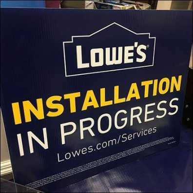 Installation in Progress Sign Says Fast Service