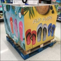 Colorful Flip-Flop Bulk Bin Pallet Display