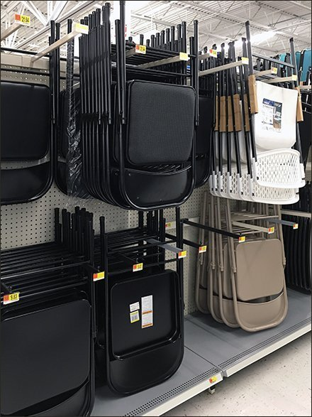 Folding Chair Merchandising - Folding Chair Faceout Bar-Mount Display