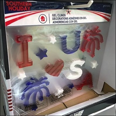 Patriotic Window Cling Corrugated Hook