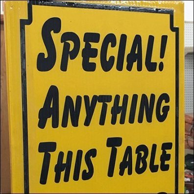 Special Anything Table-Top Merchandising